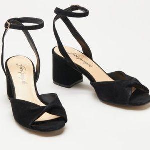 Free People Black Gisele Leather Sandal